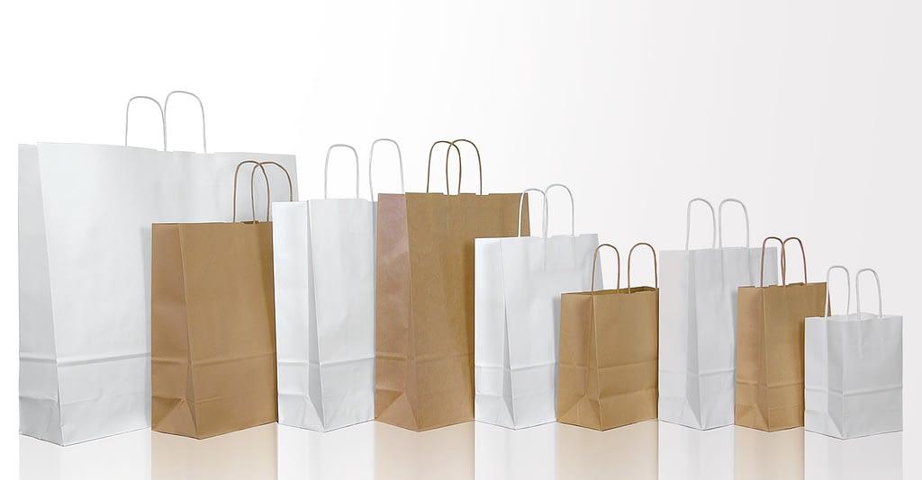 sacchetti di carta bianco avana automatici personalizzati